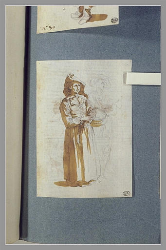 CALLOT Jacques : Une femme, debout, un panier au bras gauche et esquisse d'une autre femme