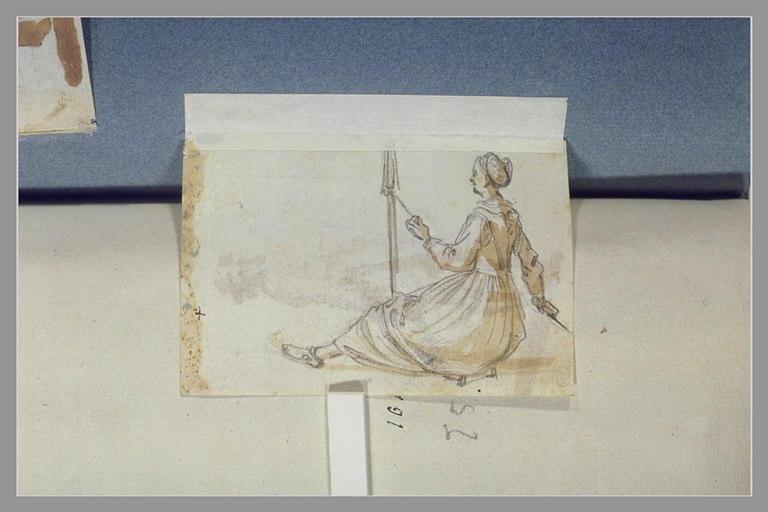 CALLOT Jacques : Une femme assise filant une quenouille