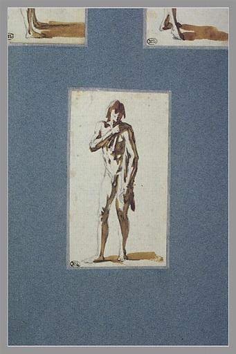 CALLOT Jacques : Un homme nu, debout, semblant s'essuyer l'épaule