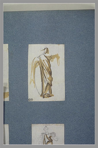 CALLOT Jacques : Une figure drapée, debout, tournée vers la droite