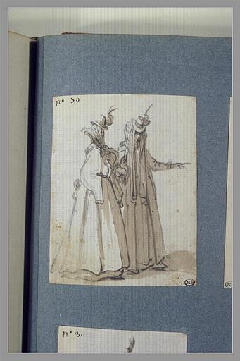 CALLOT Jacques : Deux personnages de théâtre marchant vers la droite