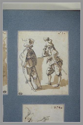 CALLOT Jacques : Deux soldats debouts, appuyés sur un mur