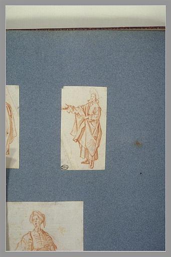 CALLOT Jacques : Le Christ auréolé, retenant son manteau, avançant le bras droit