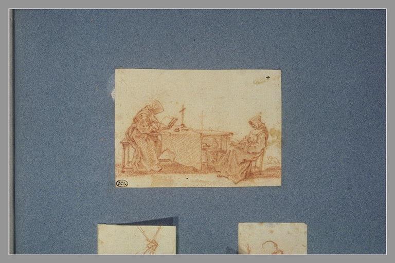 CALLOT Jacques : Deux moines assis, lisant