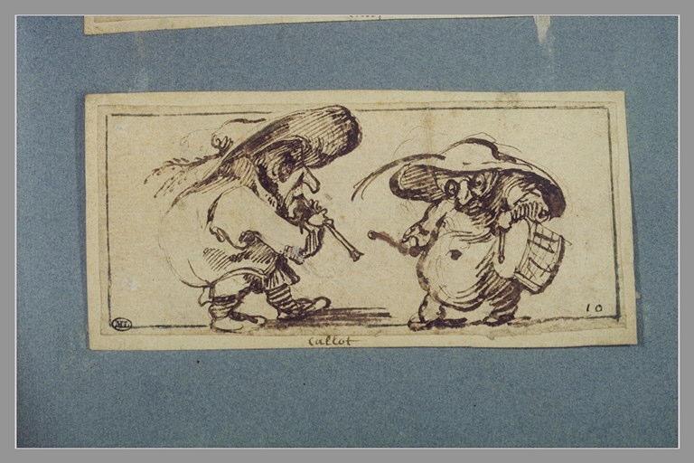 CALLOT Jacques : Deux figures grotesques, l'une donnant de la trompette