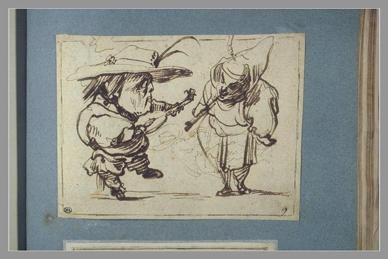 CALLOT Jacques : Deux figures grotesques faisant de la musique