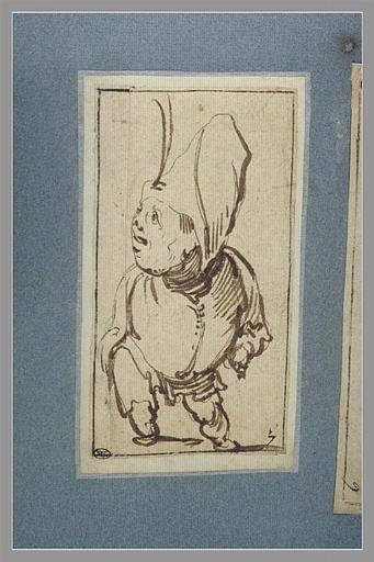CALLOT Jacques : Une figure grotesque debout, regardant vers la gauche