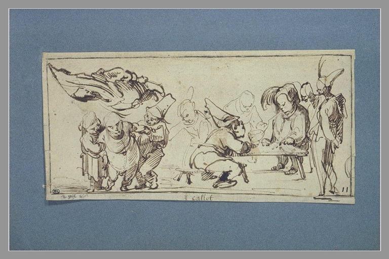 CALLOT Jacques : Groupe de figures grotesques et de caramiggi