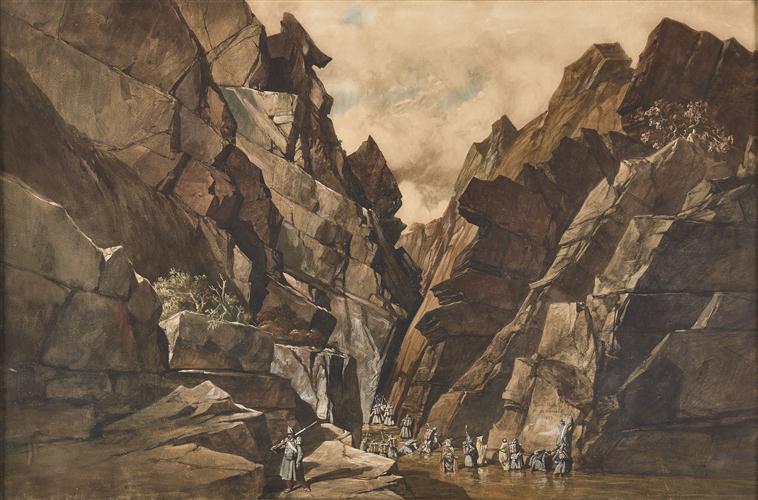 Troisième muraille des Portes de Fer - 28 octobre 1839 ; Les Sapeurs du Génie indiquant par inscription la date du passage de la 3e muraille du défilé des 'Bidan' ou des Portes de Fer le 28 octobre 1839 (autre titre)_0