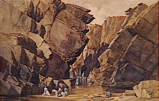 Troisième muraille des Portes de Fer ; Les chasseurs du 3e régiment et les soldats du 2e léger descendant l'oued Chebba à la 3e muraille du défilé des 'Bidan' ou Portes de Fer le 28 octobre 1839 (autre titre)