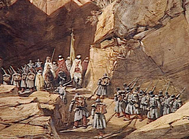 Fin du défilé des Portes de Fer ; Episode de la conquête de l'Algérie, 1839. 'Sortie du défilé des Bidan' ou 'Portes de Fer' le 28 octobre .Marche du corps expéditionnaire français de Constantine à Alger à travers l'Atlas (autre titre)
