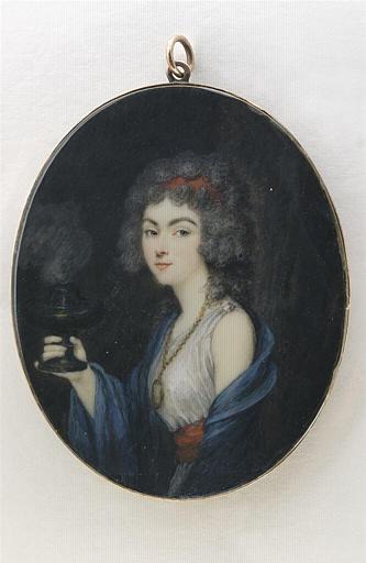 GUERIN Jean Urbain : Portrait de femme vue de trois quarts à gauche, tenant un brûle-parfum