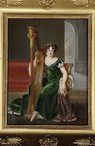 MIRBEL Lizinka Aimée Zoé de : Portrait de Pauline Boyer à la harpe