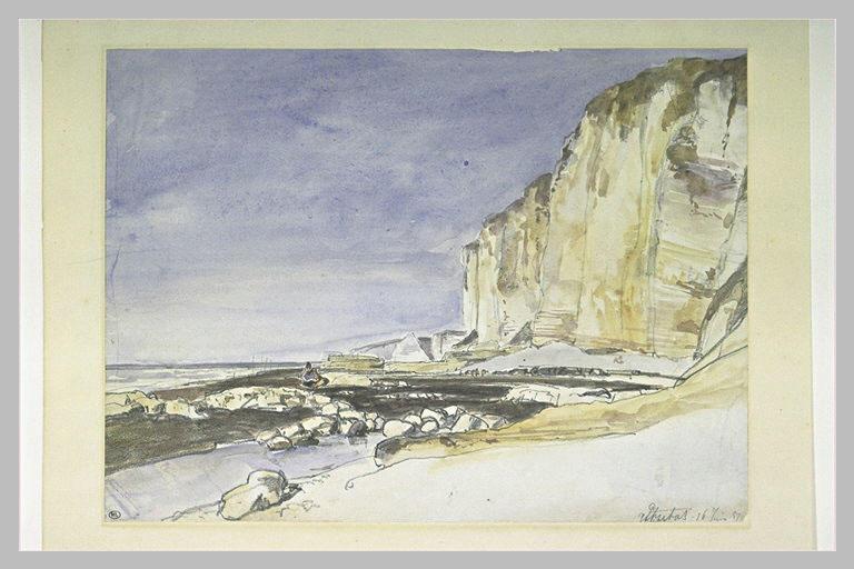 Vue des falaises et de la plage d'Etretat_0