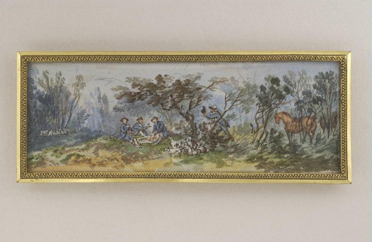 BLARENBERGHE Henri Joseph van : Paysage, sujet de chasse