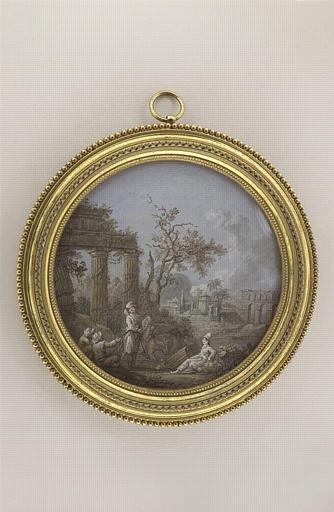 BLARENBERGHE Henri Joseph van : Paysage en grisaille avec figures et ruines antiques