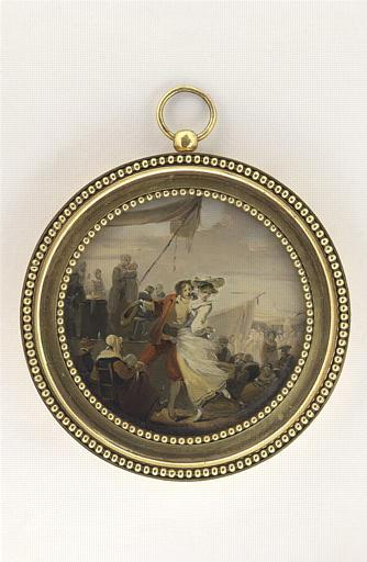 DEBUCOURT Louis Philibert : Jeune homme et jeune femme dansant
