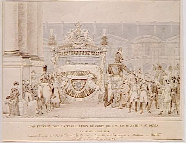 Translation du corps de Louis XVIII à Saint-Denis le 24 septembre 1824 ; Représentation du char funèbre pour la translation du corps du Roi Louis XVIII à Saint-Denis, le 24 septembre 1824 (autre titre)
