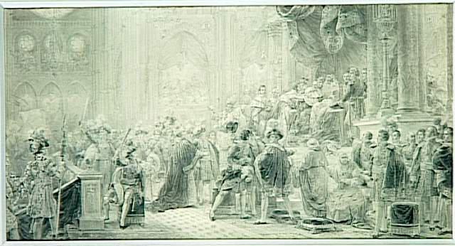 Le Sacre de Charles X à Reims le 29 mai 1825 (le roi donnant l'accolade au Dauphin et aux princes de la famille royale)