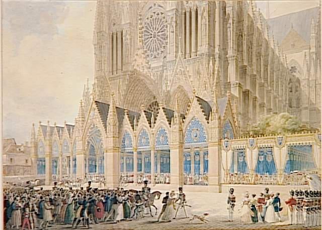 Sortie de Charles X de la cathédrale de Reims ; Sacre de Charles X dans l'église métropolitaine de Reims le 29 mai 1825 Vue prise du parvis de la Procession conduisant le Roi du Palais abbatial après son sacre (autre titre)