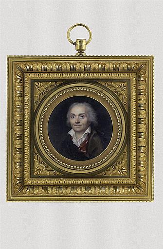 ISABEY Jean-Baptiste : Buste du sculpteur Jean Antoine Houdon