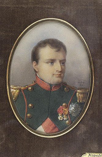 ISABEY Jean-Baptiste : L'empereur Napoléon en uniforme des chasseurs de la garde, en buste
