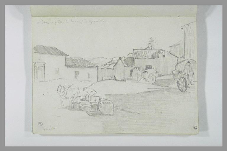 DEHODENCQ Alfred : Vue d'un village et notes manuscrites