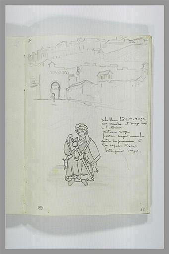DEHODENCQ Alfred : Vue d'une ville avec une porte monumentale, figure de soldat arabe