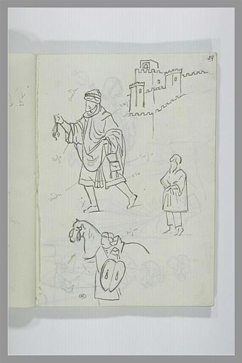 Etude d'un château, d'un cheval et de figures