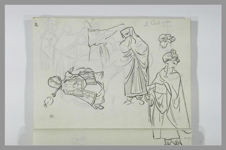 DEHODENCQ Alfred : Un arabe debout, tête, figure drapée, draperie, chevalier agenouillé