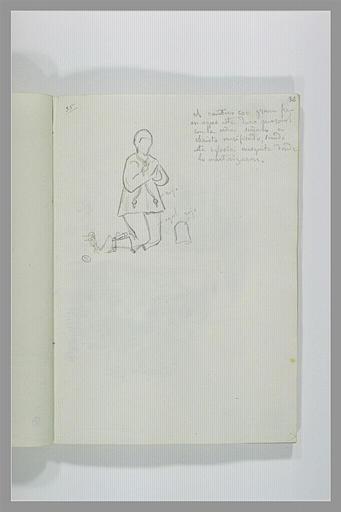 DEHODENCQ Alfred : Figure agenouillée, note manuscrite