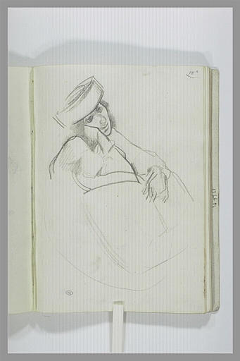 DEHODENCQ Alfred : Figure, vue en à mi-corps, la main droite contre la joue