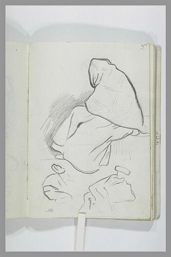 Figure drapée assise ; homme assis ; figure à demi allongée