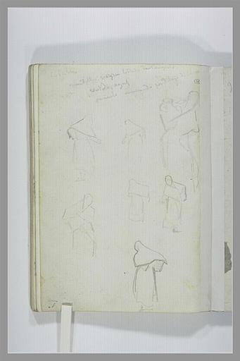 DEHODENCQ Alfred : Note manuscrite, études de figures