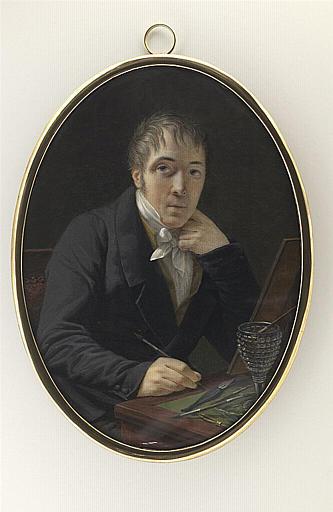 Portrait de l'artiste à sa table de miniaturiste