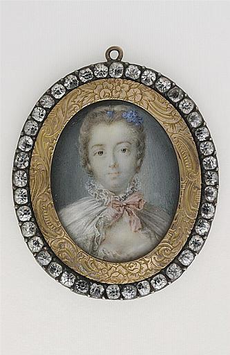 anonyme : Jeune femme en costume négligé du temps de Louis XV