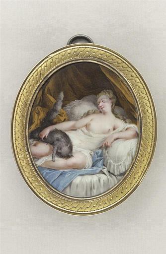 COURTOIS Nicolas André : Jeune femme jouant avec un chat noir