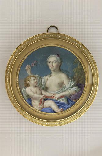 DROUAIS François Hubert : Portrait de femme en Vénus dont l'Amour délie la ceinture