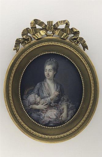 HALL Per Adolf : Portrait de Madame Roslin, née Suzanne Giroust, avec sa fille enfant