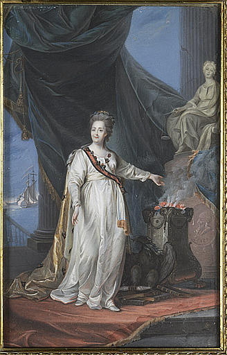 L'impératrice Catherine II devant un autel