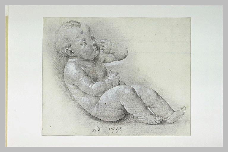 L'Enfant Jésus assis à terre, tourné à droite, l'index sur la joue_0