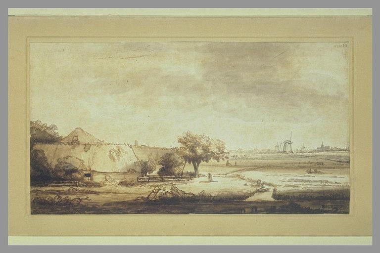 Vaste paysage avec des fermes au premier plan, et des moulins au loin