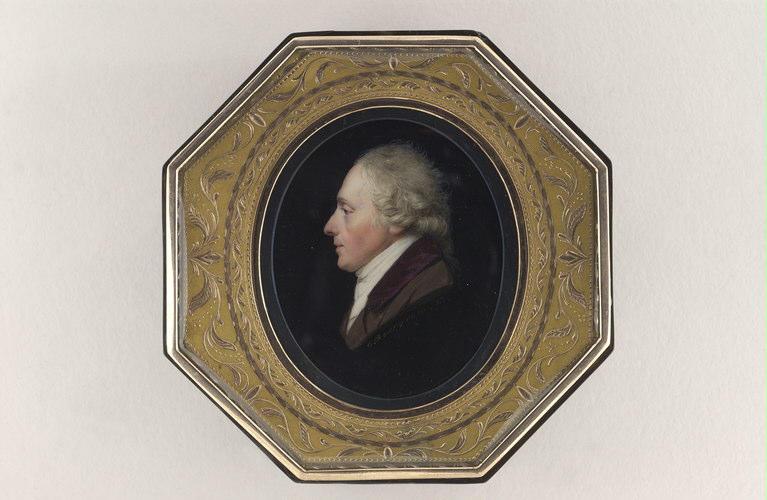 BOURGEOIS Charles Guillaume Alexandre : Portrait d'homme, en forme de camée, de profil à gauche