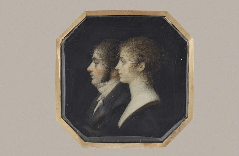 BOURGEOIS Charles Guillaume Alexandre : Têtes d'homme et de femme de profil, en forme de camée