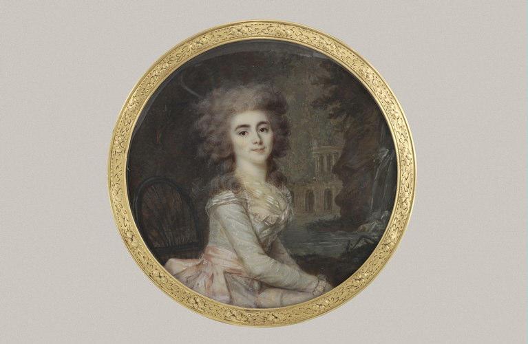 DERANTON Joseph : Jeune femme assise dans un parc sur une chaise de jardin
