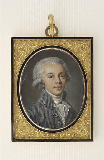Portrait d'homme en habit rayé bleu-gris_0