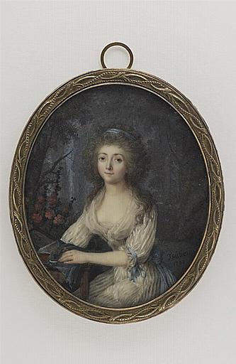 ISABEY Jean-Baptiste : Portrait de Madame Quénens peignant à l'aquarelle