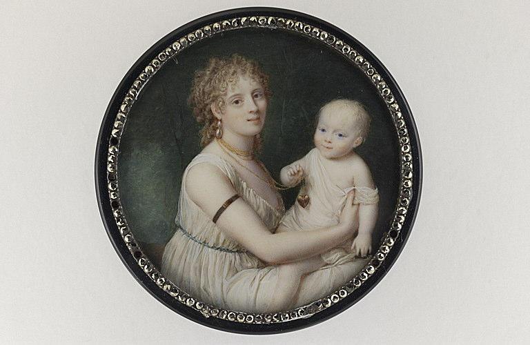 LAURENT Jean Antoine : Madame de Montalembert tenant sa fille sur ses genoux