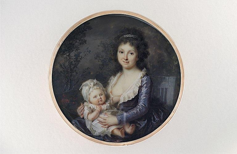 PERIN-SALBREUX Lié Louis : Jeune mère assise sur une chaise de jardin tenant son enfant sur ses genoux