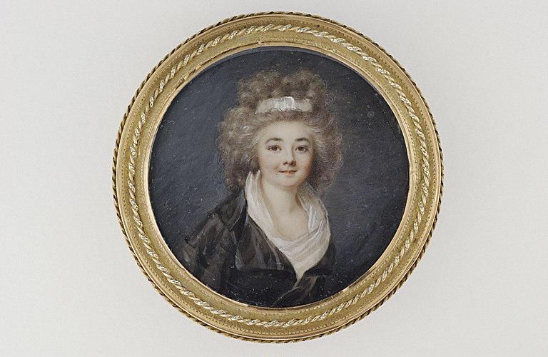 PERIN-SALBREUX Lié Louis (attribué à) : Portrait de femme en robe-redingote noire
